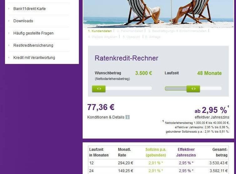 Bank11direkt Ratenkredit - Website 21.08.15