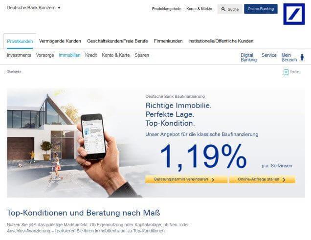 Deutsche Bank Baufinanzierung Test Vergleich Erfahrungen