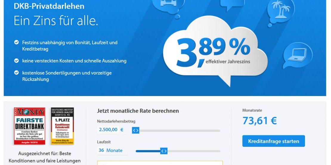 Bei Wahl des Minimalkreditbetrags von 2500 EUR erlaubt die DKB nur Laufzeiten von 12-36 Monaten (Screenshot dkb.de am 14.12.2016)