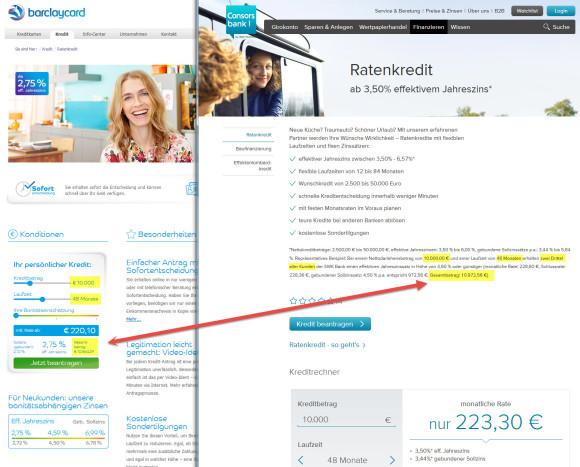 Kreditvergleich: Consorsbank Kredit vs. Barclaycard Kredit (Screenshot barclaycard.de consorsbank.de)