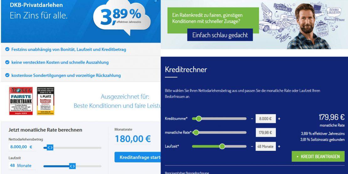 Kreditvergleich DKB netbank Ratenkredite (Screenshots der Bank-Websites am 14.12.2016)